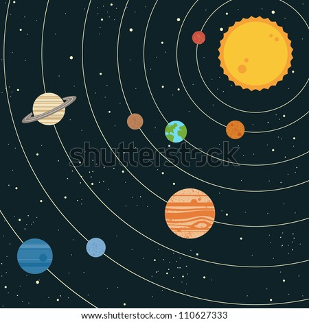 Vintage style solar system illustration with planets and sun - stock photo