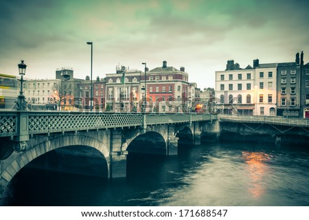 Vintage style view of Dublin Ireland Grattan Bridge - stock photo