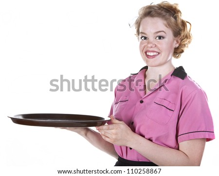 Vintage style waitress or female server with serving platter isolated on white. - stock photo