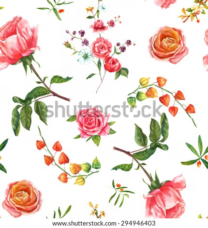 Vintage style watercolour roses seamless background pattern - stock photo
