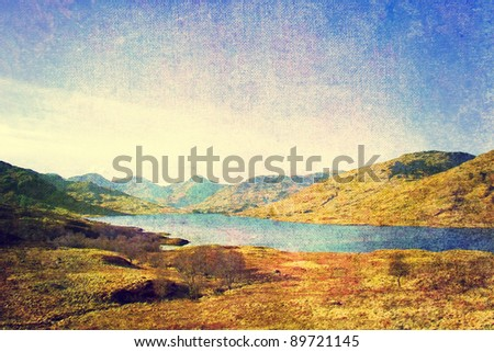 vintage styled lake and mountains landscape - stock photo