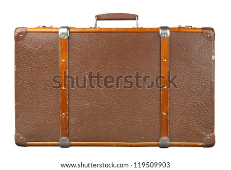 Vintage suitcase isolated. - stock photo