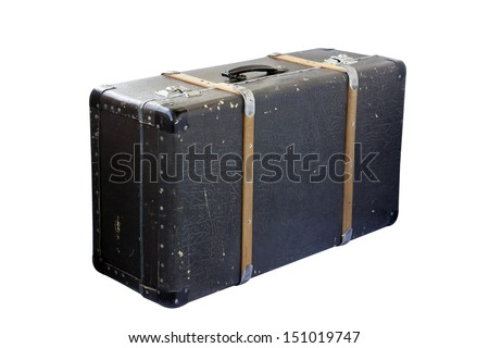 Vintage suitcase isolated on white background. - stock photo