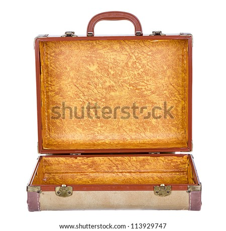 vintage suitcase or luggage open, isolated on white - stock photo