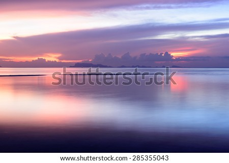 Vintage sunset beach and sky background - stock photo