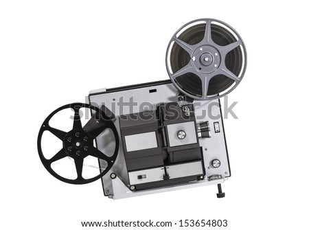 Vintage super 8 home movie film projector isolated with clipping path.  - stock photo