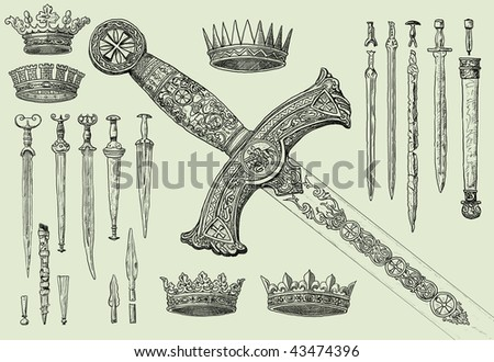 Vintage swords and crowns - stock photo