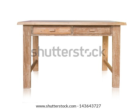 vintage table isolated on white background - stock photo