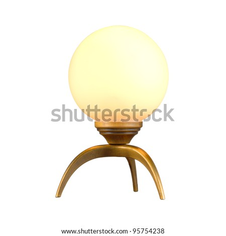 Vintage table lamp isolated on white with clipping path - stock photo