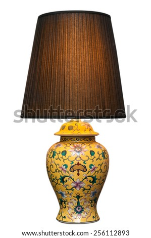 Vintage table lamp on white background, interior design for house improvement - stock photo