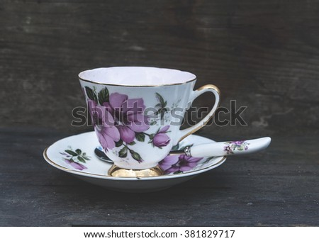 vintage tea cup and saucer - stock photo