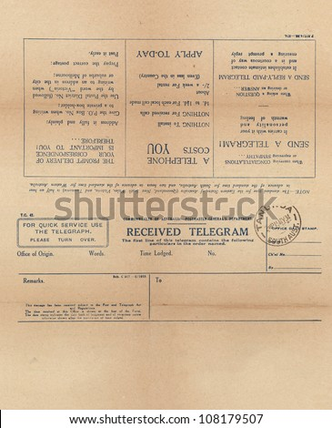 Vintage telegram setup for front and back printing - stock photo