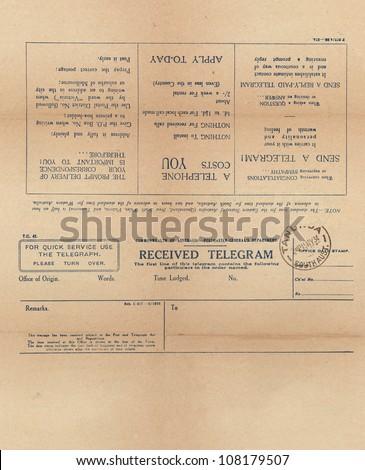 Vintage telegram setup for front and back printing - stock photo