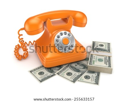 Vintage telephone and big pack of money. - stock photo