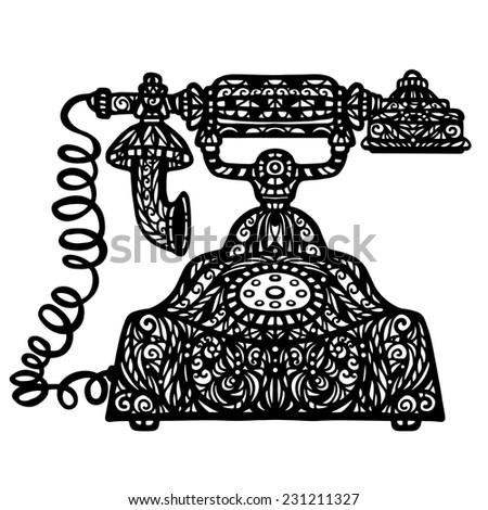Vintage telephone icon hand drawn illustration isolated on a white background - stock photo