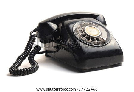 vintage telephone isolated on white background - stock photo