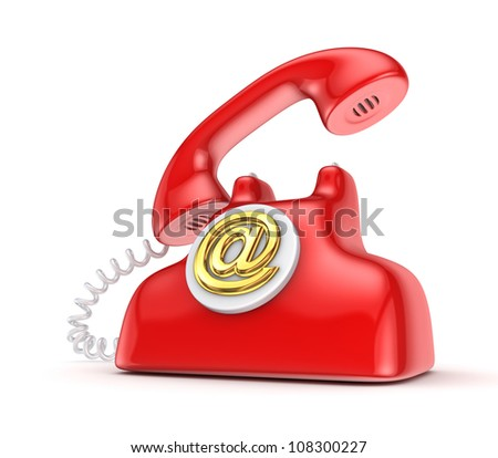Vintage telephone with golden AT sign.Isolated on white background.3d rendered. - stock photo