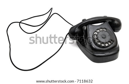 Vintage telephone with long wire. Isolated on white. - stock photo