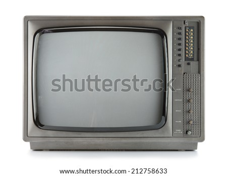 Vintage television isolate on white ,retro technology - stock photo