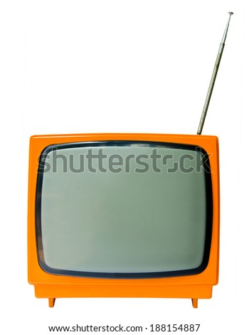 vintage television isolated on the white background, clipping path - stock photo