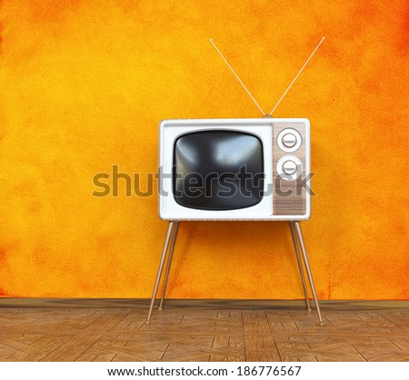 vintage television over orange background. 3d concept - stock photo