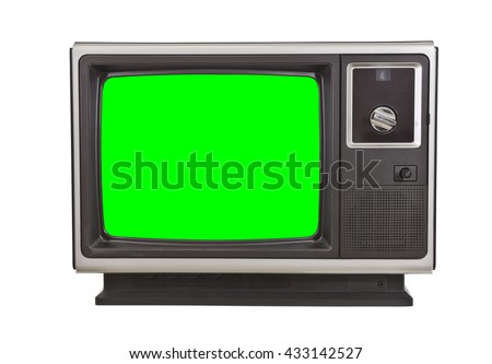 Vintage television with chroma green screen isolated on white. - stock photo
