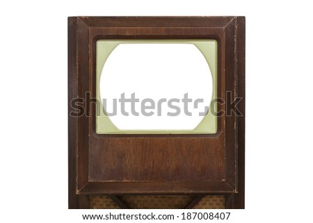 Vintage television with cut out screen and clipping path. - stock photo