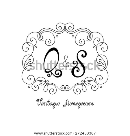 Vintage Template with Ornate Monogram. Hand Drawn Border in Trendy Linear Style - stock photo