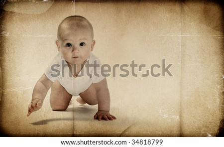 Vintage Texture - Baby crawling - stock photo