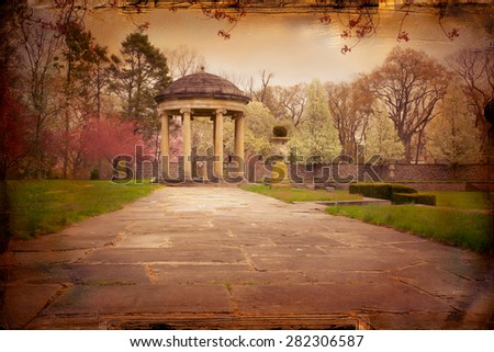 Vintage textured effect of lovely garden path covered and marble gazebo - stock photo