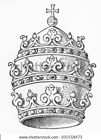 Vintage 19th century drawing of the Papal Tiara - Picture from Meyers Lexicon books collection (written in German language) published in 1908, Germany. - stock photo