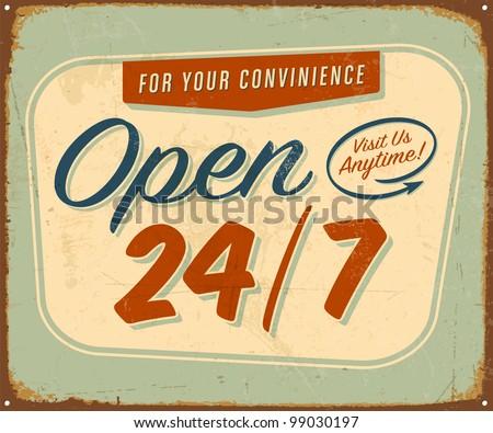 Vintage tin sign - Open 24/7 sign - Raster version. - stock photo