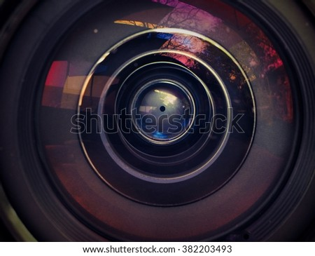 Vintage tone Close up len of camera  - stock photo