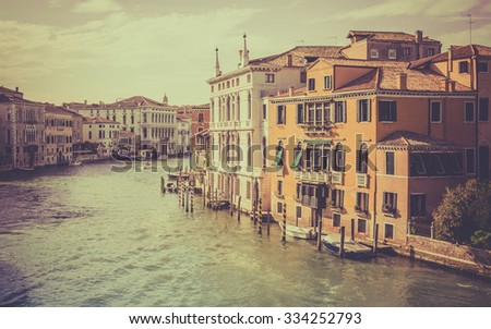 Vintage tone Grand Canal scenery in antique Venice, Italy - stock photo