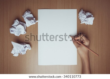 Vintage tone of modern concept flat design on creative process and idea research | Flat creative illustration on hands of a man thinking about idea with sheet of paper and pencil  - stock photo