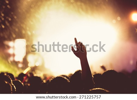 Vintage tone of people celebrating on an open air silhouettes - stock photo
