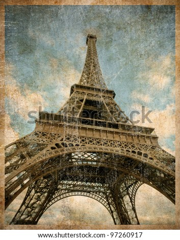 vintage toned postcard of Eiffel tower in Paris - stock photo