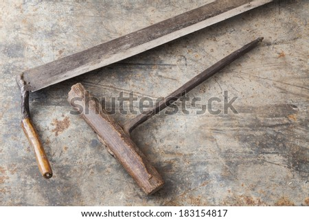 Vintage tools on a metal background - stock photo