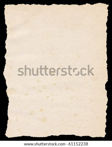 Vintage torn paper isolated on a black background. - stock photo