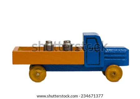 vintage toy car or truck on white background - stock photo