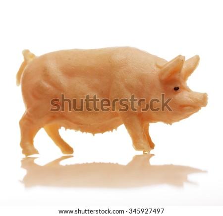 Vintage, toy pig - stock photo