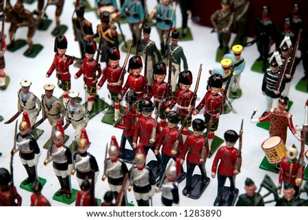 Vintage toy soldiers in the street market, London (very shallow DOF) - stock photo