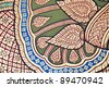 Vintage traditional Thai style art painting on temple for background. The temple is open to the public domain and has beautiful murals on the walls. - stock photo
