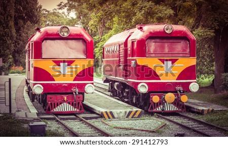 Vintage Train Engine Front Closeup - stock photo