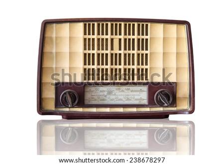 Vintage Transistor radio with white bakcground - stock photo