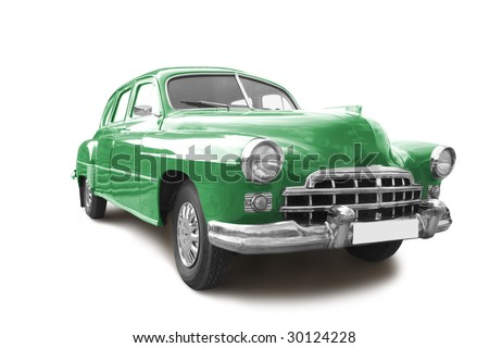 vintage transport retro car isolated on white - stock photo
