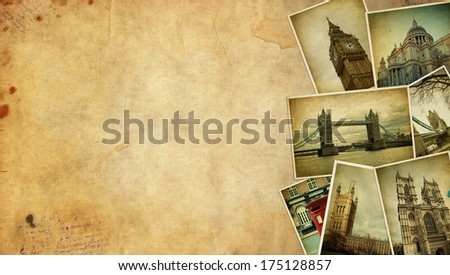 Vintage travel background with old photos of London. Space for text - stock photo