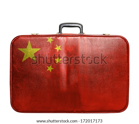 Vintage travel bag with flag of China - stock photo