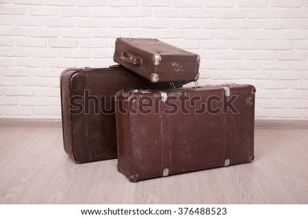 Vintage travel bags. Beautiful old suitcases - retro style, travel bags, travel bags retro style. Brown travel bags. Travel  hand bags. Travel bags valise. Old travel bags. Fabric travel bags.  - stock photo