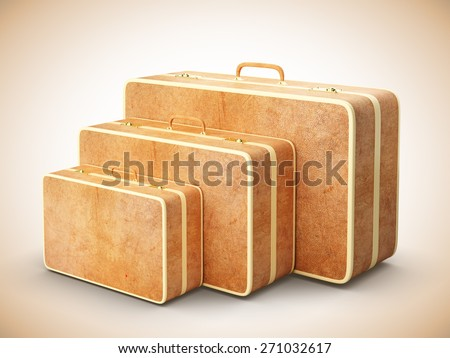 vintage travel bags, close up - stock photo